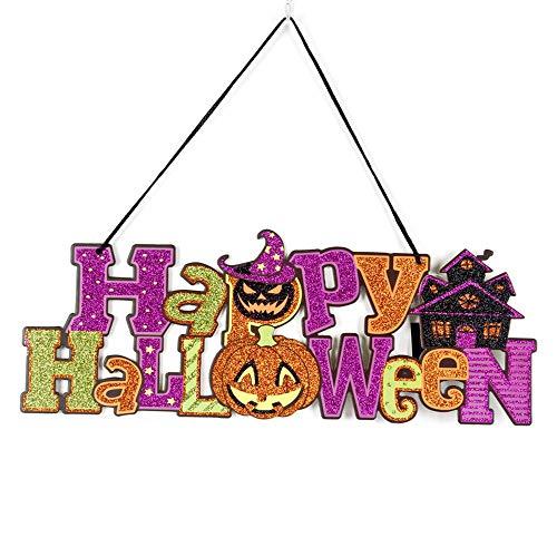 Soochat Happy Halloween sign | Halloween Door Sign | Halloween Hanging Sign Halloween Hanging Door Decorations and Wall Signs Haunted House Decor ()