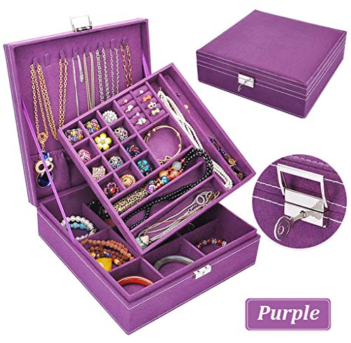 Jewelry Box for Women, QBeel Double Layer 36 Compartments Necklace Jewelry Organizer with Lock Jewelry Holder for Earrings Bracelets Rings - -