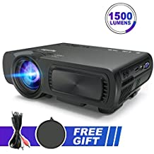 Portable Multimedia Projector 1500 Lumens Mini LED Video Projector Support 1080P HD Phone ipad Laptop TV Computer HDMI VGA USB AV TF for Home Cinema Theatre Game Outdoor Movie Party (Black)