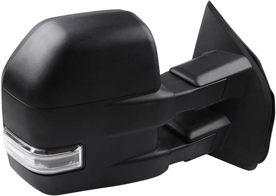 Aintier Towing Mirrors Compatible with 2015-2019 F150 Pickup Truck Tow Mirrors with Power Adjusted Heated Puddle Light Turn Signal Light Black with The Converter Plug Driver Side and Passenger Side