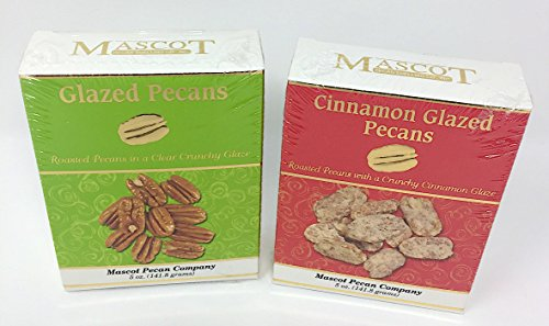 Glazed Pecans and Cinnamon Glazed Pecans 10 oz Total - Mascot Pecan Company Fresh Small Batch Best Snack Salads (Cinnamon Toasted Pecans)