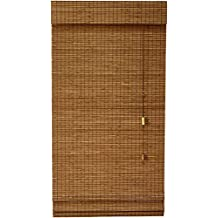 Lewis Hyman Bamboo Roman Shade with Valance, 35-Inch Wide by 72-Inch Long, La Stella, Sesame Brown, 0213265E