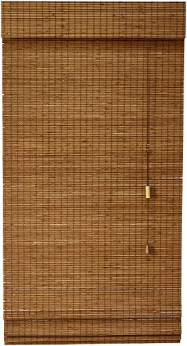 Lewis Hyman Bamboo Roman Shade with Valance, 27-Inch Wide by 72-Inch Long, La Stella, Sesame Brown, 0213245E - Alternative Wood Blinds