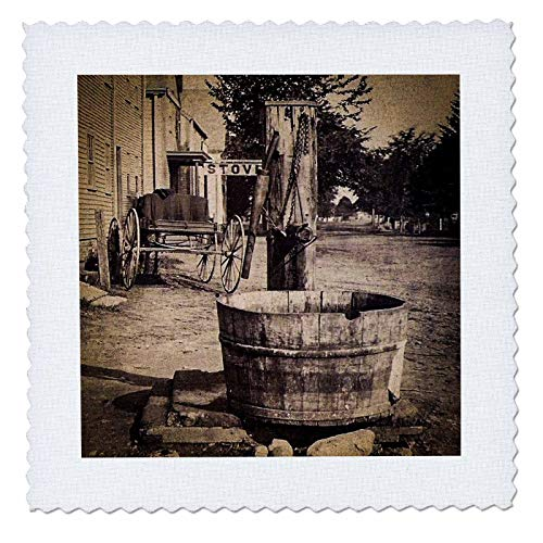 (3dRose Scenes from The Past - Stereoview - Old Time Americana Main Street USA 1860s Water Well and Wagon - 6x6 inch Quilt Square (qs_300325_2) )