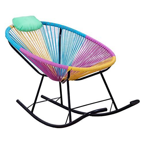 (LYQZ Rattan Lazy Sofa Chair Cushion Modern Minimalist Fashion Bedroom Living Room Balcony Comfortable Wrought Iron Stool Rainbow Color)
