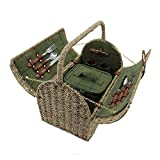 2 Person Seagrass Handled Green Tweed Fitted Picnic Basket