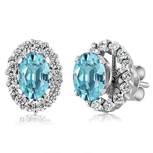 1.86 Ct Oval Blue Zircon 925 Sterling Silver Stud Earrings with - Zircon Earrings