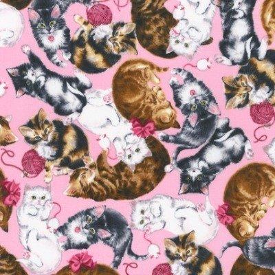 Gato gatos de tela por la mitad rhinocables - gris marrón y blanco en color rosa tela rk238 - para niños tela por Robert Kaufman - 100% algodón: Amazon.es: ...