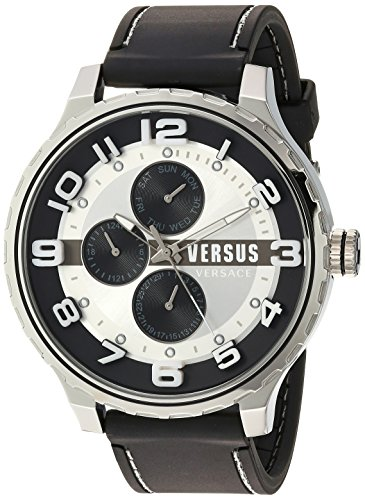 Versus-by-Versace-Mens-Globe-Quartz-Stainless-Steel-and-Rubber-Casual-Watch-ColorBlack-Model-SBA130015