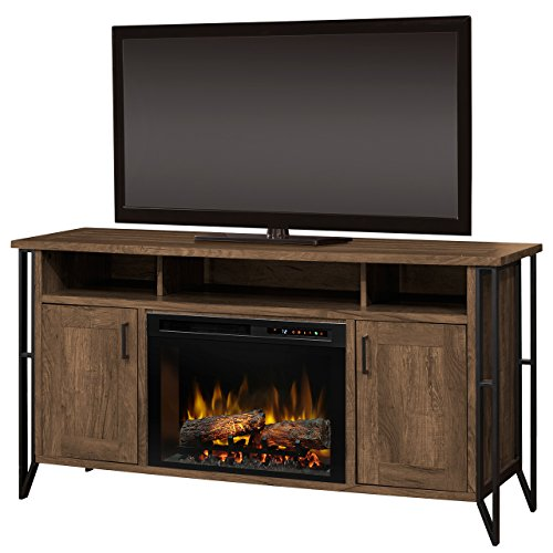 (Dimplex Electric Fireplace, TV Stand, Media Console, Space Heater and Entertainment Center with Natural Log Set in Farmhouse Chestnut Finish - Tyson #GDS26L8-1873FM)