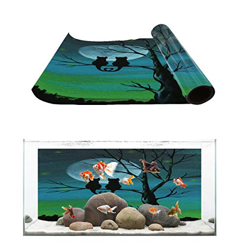 T&H Home Aquarium Décor Backgrounds - Cats Watch The Moon on Tree Fish Tank Background Aquarium Sticker Wallpaper Decoration Picture PVC Adhesive Poster, 30.4