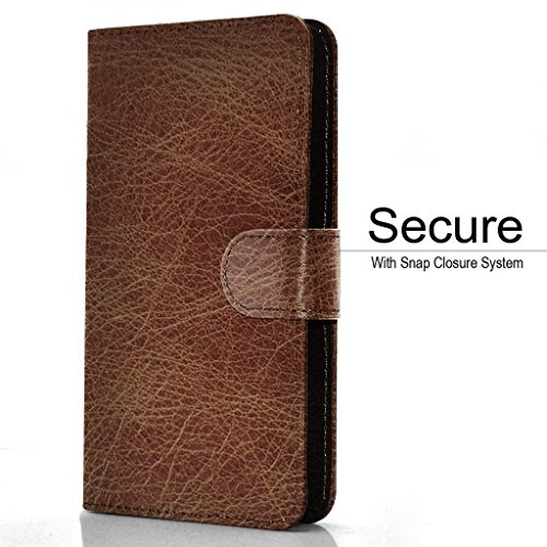 Premium Case Clamp PU HD Case Pocket and with Holder Card 5 Aventus Camera 5 Wallet Wallet Slide Spring Leather Slot BLU Banknotes Clamp Brown Green Universal Grand W60xqw7fY