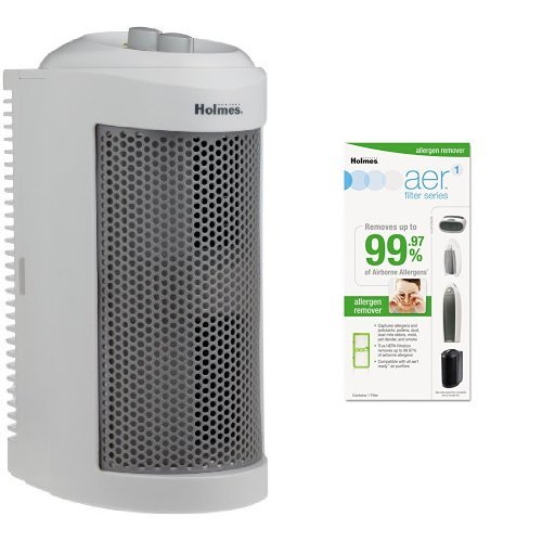 Holmes True HEPA Allergen Remover Mini Tower Air Purifier with Allergen Remover Filter