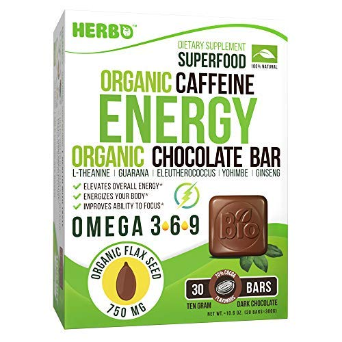 Herbo Superfood Caffeine Energy Booster in Dark Chocolate - Extracts for Focus and Concentration - Pre Workout Supplement with L-theanine, Yohimbe, Guarana, Ginseng, Eleuthero, Omega-3, Gluten Free