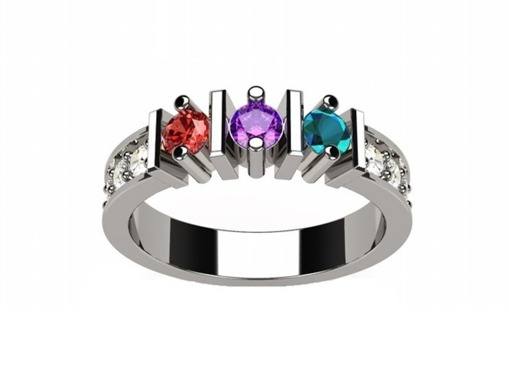 NANA Straight Bar w/Side CZs Mothers Ring 1-6 Simulated Birthstones - 10k White Gold - Size 6.5