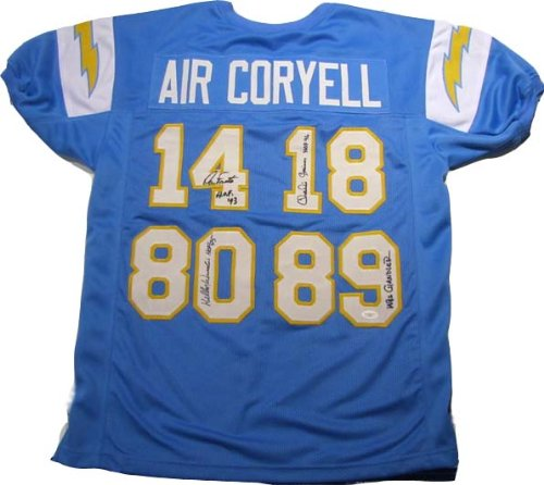 Dan Fouts Kellen Winslow Wes Chandler Charlie Joiner Autographed Signed Chargers Jersey - Air Coryell ()