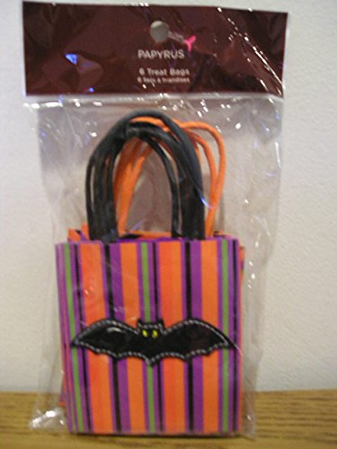 Papyrus 6 Halloween Treat Bags Pumpkin and Bat -