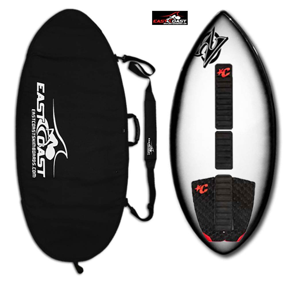 """East Coast Skimboards Deluxe Skimboard Package - Zap Wedge Medium 45"""" - Black Halo - Rider Weight Limit 140 lbs (Black Red - COL)"""