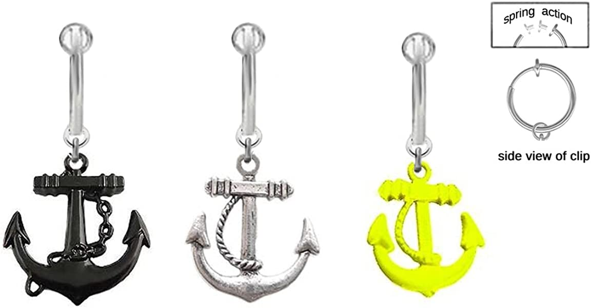 playful piercings 3 pc Lot Fake Belly Navel Non Clip on Yellow Black Steel Anchor Nautical Boating Ring