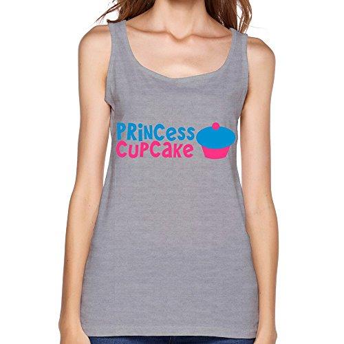 LFD Women's Princess Cupcake Cotton Tank Top Vest Gray XXL