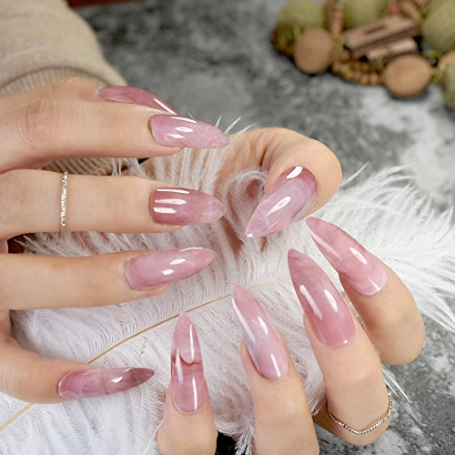 Including Glue (Extra Long STILETTO False Nails Pre-designed Curved Pink Marble Press On Nails including glue sticker Z716)