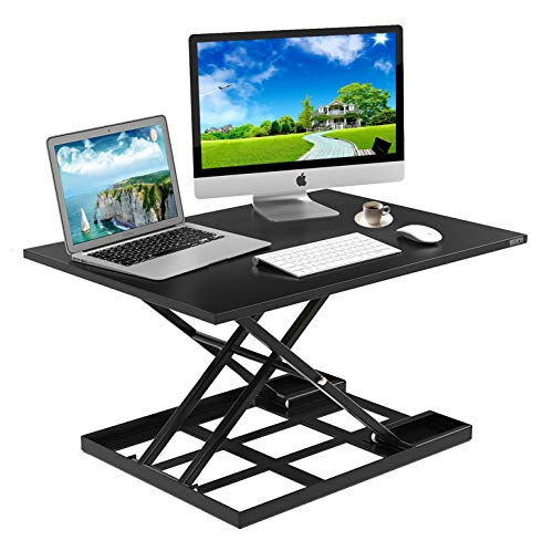 Standing Desk Stand Up Desks Height Adjustable Sit Stand Converter Laptop Stands Large Wide Rising Black Dual Monitor PC Desktop Computer Riser Table Workstation Foldable Extender Ergonomic 32 inch (Shelf Single Clearance High Desktop)