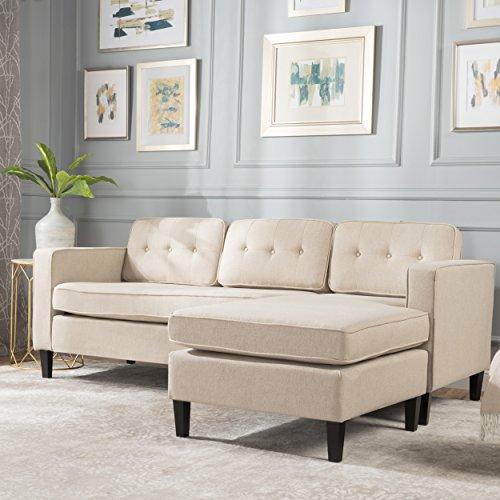 Windsor Mid Century Modern 2 Piece Cream Fabric Chaise Sectional Sofa