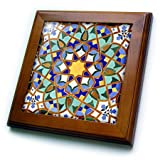 3dRose ft_73580_1 Morocco, Hassan II Mosque mosaic, Islamic tile detail-AF29 KWI0018-Kymri Wilt-Framed Tile, 8 by 8''