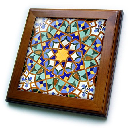 Wall Art Framed Tile - 3dRose ft_73580_1 Morocco, Hassan II Mosque mosaic, Islamic tile detail-AF29 KWI0018-Kymri Wilt-Framed Tile, 8 by 8