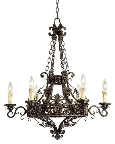 Cheap Merrifield 28″ Wide Dark Bronze 6-Light Iron Chandelier