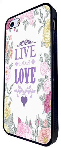 527 - Floral Shabby Chic Roses Live Love Laugh Design iphone SE - 2016 Coque Fashion Trend Case Coque Protection Cover plastique et métal - Noir