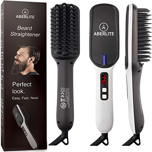 Best Review Of (UPGRADED) Aberlite MAX - Beard Straightener for Men - Beard Straightening Heat Brush...