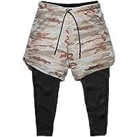 Ducomi Pantalones de Fitness para Hombre + Leggings de Compresión Running 2 en 1 - Pantalones Largos y Shorts de…