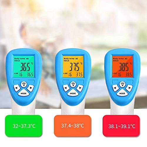 Accurate to +//- 0.2 C 1 Pack No Contact Digital Infrared Thermometer Forehead Thermometer for Adults and Kids Alarm at 100.4F//38C Large Screen Display Automatic