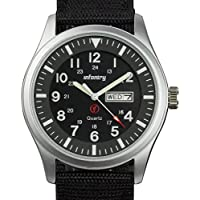 INFANTRY Mens Army Military Field Analog Watch Simple Quartz Wrist Watches for Men Nylon Strap Day & Date