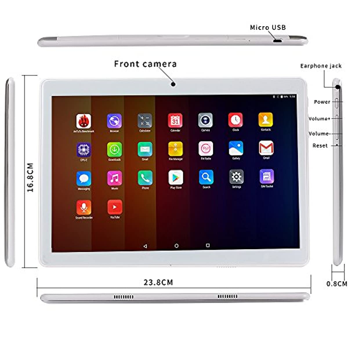 2018 4g lte android 7 0 10 zoll tablet pc 10 1 2 ghz octa. Black Bedroom Furniture Sets. Home Design Ideas