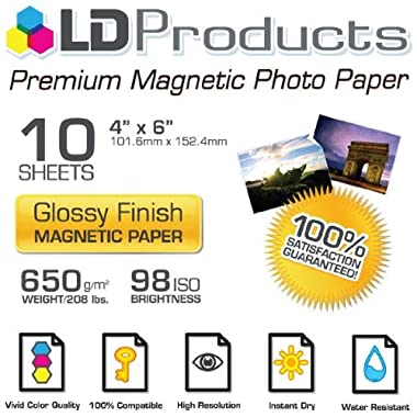 1 X LD © Glossy Inkjet Magnetic Photo Paper 4x6 (10 Sheets)