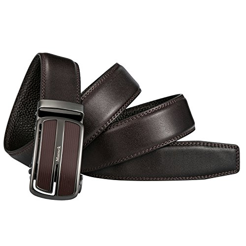 Brown Genuine Belt (Mamck Sliding Buckle Ratchet Belt Genuine Cowhide Mens Leather Belt)