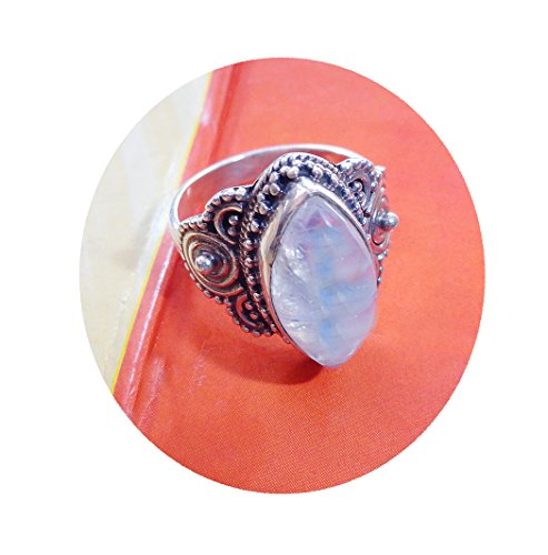 100% Natural Rainbow Moonstone ring, Large 8x16 MM marquise shape moon stone silver ring,solid silver ring, stone ring, 925 sterling silver, Moonstone Ring 8, 8.25, 8.5, 7.5, 9 ()