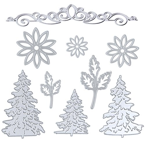 Kabi 9pcs Metal Cutting Dies with Flowers Leaves Pine Trees Crown Lace Stencil Set, Embossing Die Cuts for DIY Scrapbook Album Craft Decorations Card Making (Silver)
