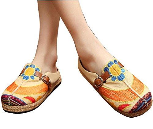 casuales del mano la a hebilla bordados Zapatos de hechos Zapatos mujeres las cintur de f18Tq