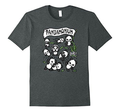 Mens Funny Fighting Panda Pandamonium Gift T-Shirt 3XL Dark Heather