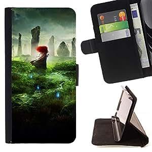 For Samsung Galaxy A5 ( A5000 ) 2014 Version Case , Naturaleza Redhead Wonder mágica mística- la tarjeta de Crédito Slots PU Funda de cuero Monedero caso cubierta de piel