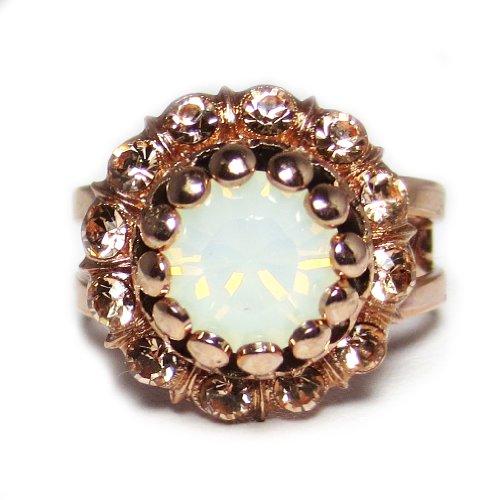 "Mariana Rose Gold Plated ""Tiara Day"" Swarovski Crystal Adjustable Flower Dome Ring"