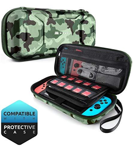 Mumba Carrying Case for Nintendo Switch, Deluxe Protective Travel Carry Case Pouch for Nintendo Switch Console & Accessories [Dual Protection] [Large Capacity] (Camouflage) by Mumba