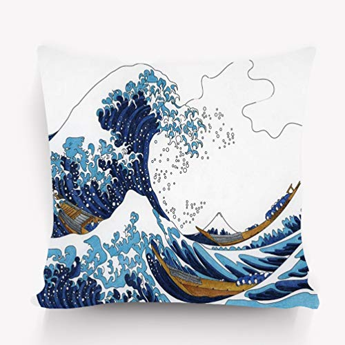 YILINGER Throw Pillow Cushion Cover, Modern Art Print, Decorative Square Accent Pillow Case, 18 X 18 inches, Hokusai s Great Wave Kanagawa Adult Coloring Page Hokusai s Great Wave kanagaw
