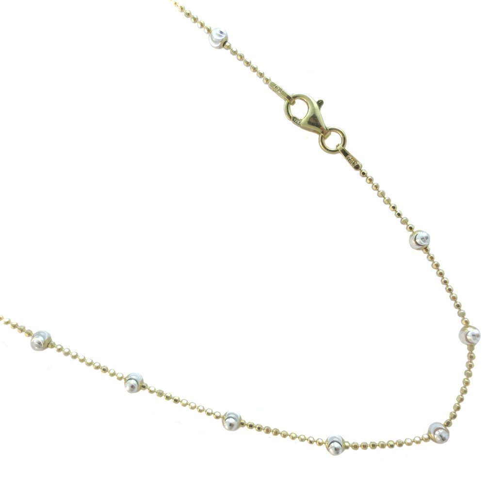 JOSCO Gold Plated Over Sterling Silver Two-Tone Colored Vermeil Italian Necklace 16,18,20,24 Inches