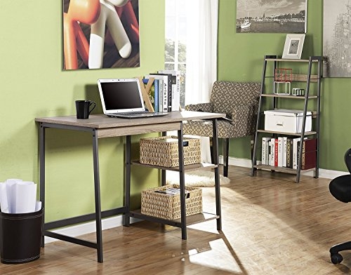 Homestar Gemelli Desk with Book case Combo, Distressed Mocha Finish by Home Star