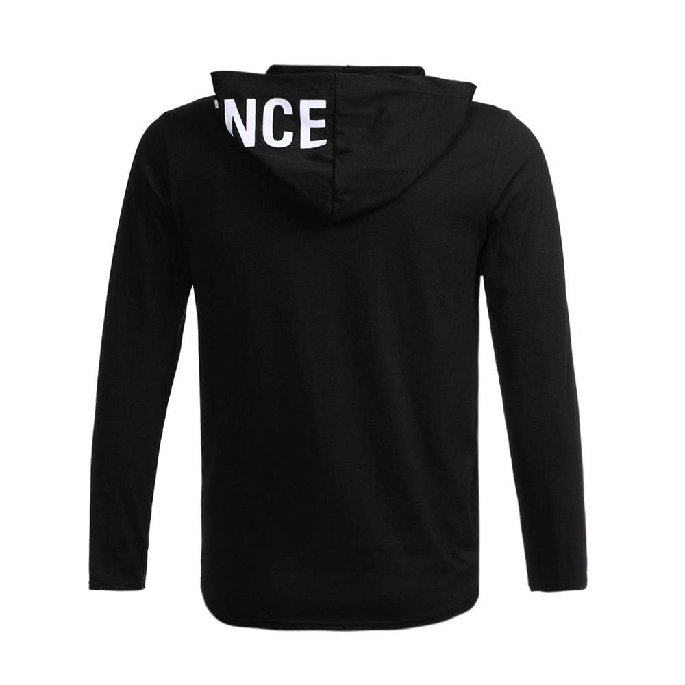 NRUTUP Men's Long Sleeve Sweater Letter Printed Hooded Sweater Slim Fit Blouse Top Casual Autumn.(Black,XL) by NRUTUP (Image #4)
