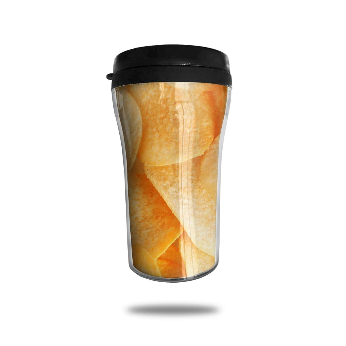 FTRGRAFE Funny Potato Chips Pattern Travel Coffee Mug 3D Printed Portable Vacuum Cup,Insulated Tea Cup Water Bottle Tumblers for Drinking with Lid 8.54 Oz (250 Ml)